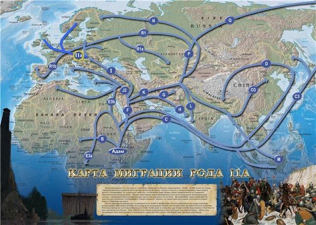Карта миграции I1 (I1a по